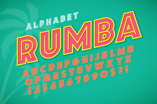 Hot summer display font design, alphabet, letters and numbers