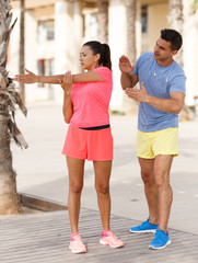 Woman on workout with trainer