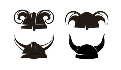 Horned Helmets of the Vikings, Vector Set