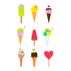 Collection of 9 vector ice cream illustrations on white board