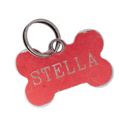 Old dog name tag in shape of bone, red, with name Stella. Memento to remember deceased pet, isolated on white
