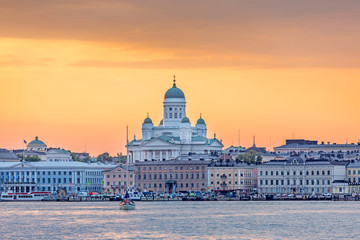 Sunset over Helsinki Cathedral, Finland