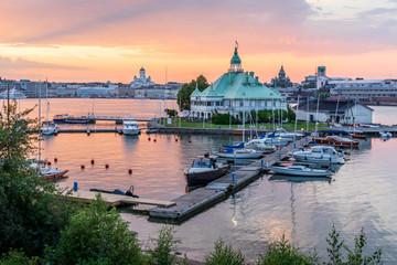Sunset over Helsinki and Valkosaari, Finland