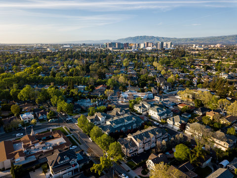 Aerial view of Silicon Valley in California