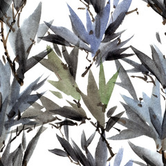 Watercolor bamboo leaves
