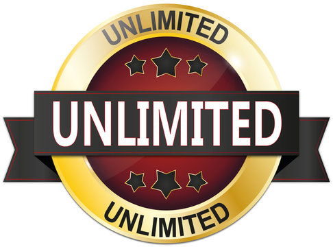 golden red unlimited badge with stars