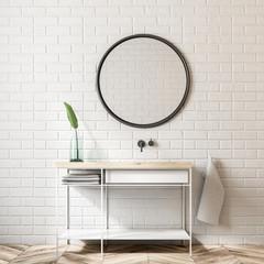 White brick bathroom, sink and mirror
