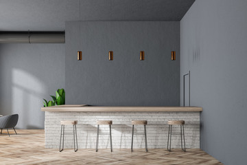 Gray modern bar interior
