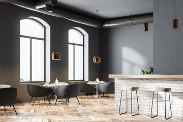 Gray modern restaurant corner with a bar, close up