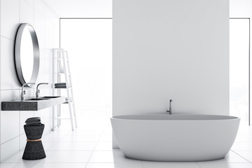 White tile bathroom interior