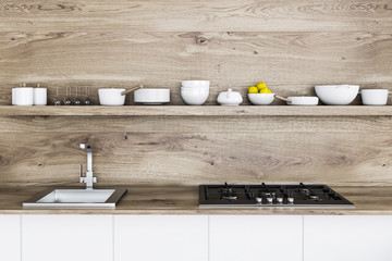 Wooden kitchen countertop and shelf