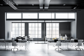 Gray and black industrial style office