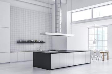 White tile kitchen corner, gray and white counter