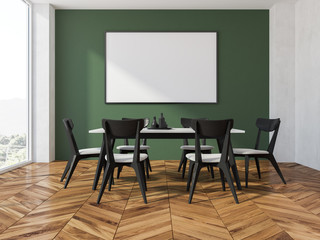 Panoramic green dining room, poster