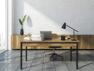 White and wooden loft office workplace