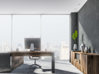 Gray and wooden loft office workplace