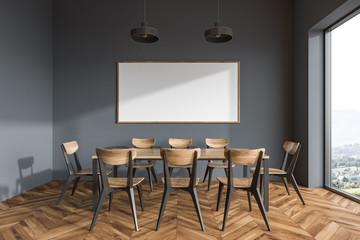Panoramic gray dining room interior, poster