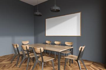 Panoramic gray dining room corner, poster