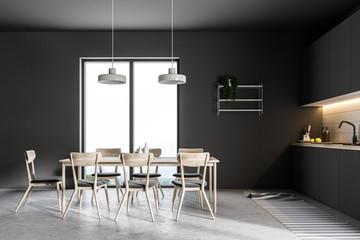 Luxury black kitchen interior