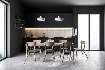 French window black kitchen interior