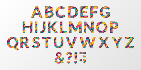 Vector of colorful layered font and paper alphabet. ABC letters design.