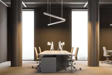 Side view of Industrial style brown office