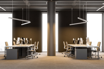 Side view of Industrial style brown office columns