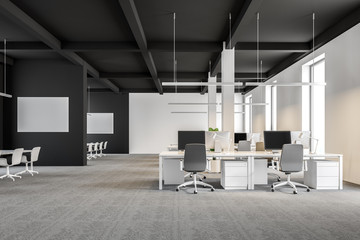 Dark gray and white industrial style office