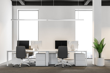 White wall industrial style company office