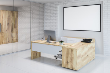 White brick modern office workplace corner, banner