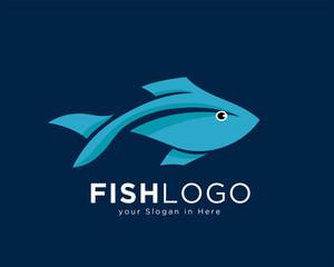 simple modern fish art logo