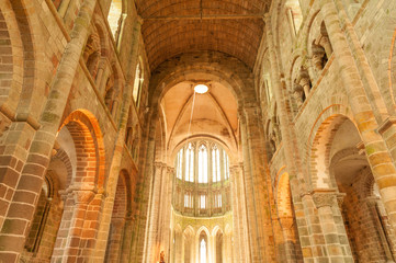 Interior of Mont Saint Michel church-abbey, UNESCO world heritage site, France