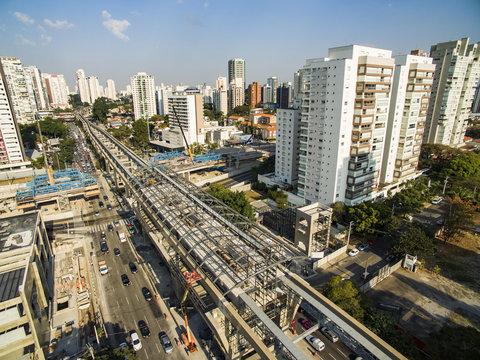 "Construction of the monorail system, monorail line ""17 gold"", avenida Jornalista Roberto Marinho, São Paulo, Brazil, South America America"
