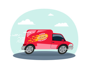 Food truck logotype for Pizza fast delivery service or street food festival. pizza advertise ads vector logo