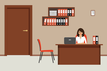 Office room in a beige color. Young woman is sitting at a desk at her workplace. There is a brown furniture, red chairs, shelves with folders in the picture. Vector flat illustration