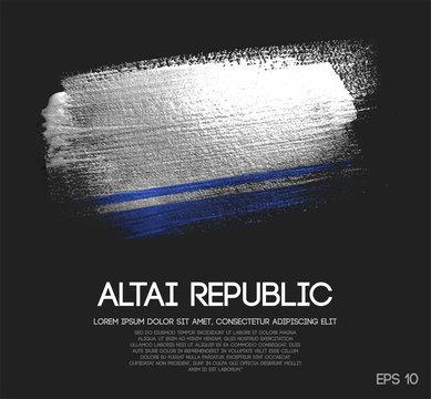 Altai Republic Flag Made of Glitter Sparkle Brush Paint Vector