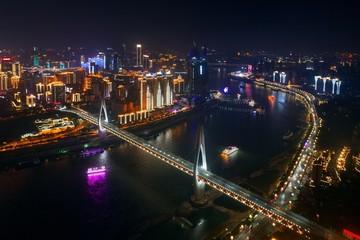Chongqing bridge night aerial