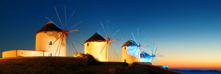 Fotomurales - Mykonos windmill night panorama