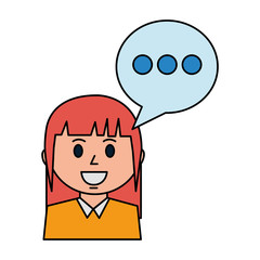 business woman and speech bubble communication