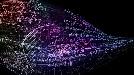 3D rendering of abstract blocks of mathematical formulas located in the virtual space