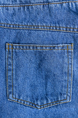 Close up denim jeans pocket
