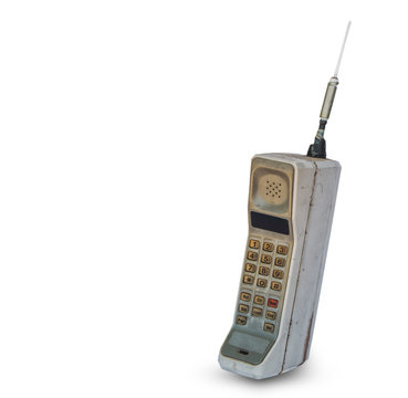 vintage mobile phone isolated on white