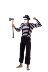 Mime with axe isolated on white background