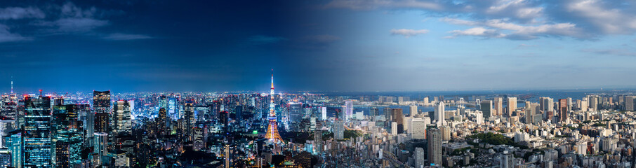 Deurstickers Tokyo Tokyo cityscape night and day. Panorama view.
