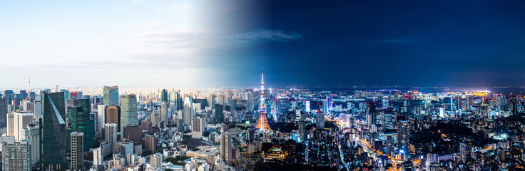 Wall Murals Asian Famous Place 東京の昼と夜