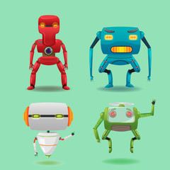 Robot Machine Character Collection Set Vector