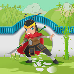 China Asia Armor Warrior Background Vector