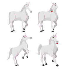 Horse White Unicorn Character Set Vector