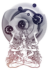 Space and time universe many armed goddess girl in lotus position with long hair, six hands.