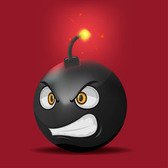 Bomb Cartoon Anger Face Emotion Vector